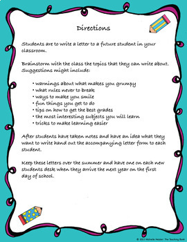 End of the Year Letter Writing Activity