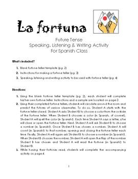Future Tense Fortune Activity Spanish