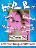 Future Tense- Small and Large Partner Puzzles in Spanish!--Editable!