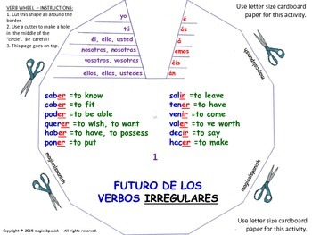 spanish verb conjugation verb wheels pdf document
