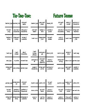 Spanish Future Tense Tic Tac Toe Partner Game