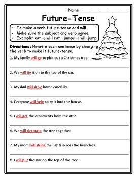 Christmas Future Tense Verbs Christmas Grammar Christmas ...