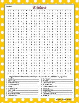 Future Tense Word Search Worksheet Fun Exercise