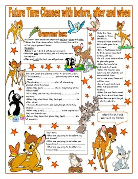 Future Time Clauses with before, after and when. Grammar box + activities
