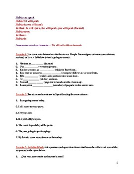Future and Conditional Tense Worksheets Spanish by Spice ...