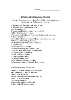 Future and conditional practice worksheet - translation
