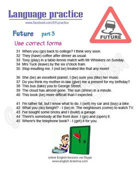 Future in English; examples + worksheet with exercises, ESL/EFL intermediate