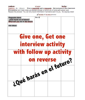 el tiempo futuro Future tense Spanish notes, wrksht, interview, write letter