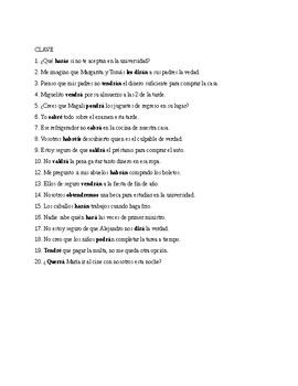 Realidades 3, Chapter 6. Future with irregular verbs. Quiz / Activities