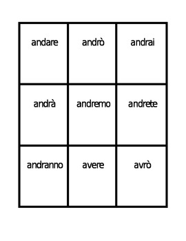 Futuro irregolare (Irregular future tense in Italian) Spoons game / Uno game