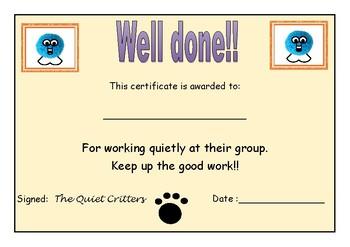 Fuzzi Critter Certificate