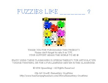 Fuzzies Like... F Articulation Practice!