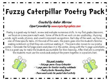 Fuzzy Caterpillar Poetry Pack