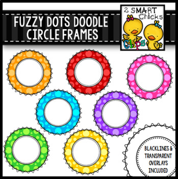 Fuzzy Dots Doodle Circle Frames