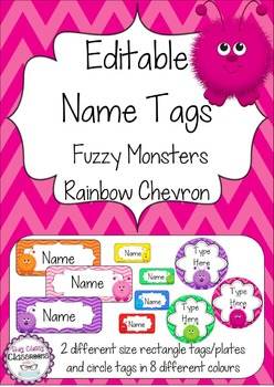 Fuzzy Monsters Editable Name Tags / Desk Plates - Rainbow Chevron