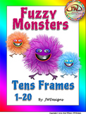 Numbers 1-20 Posters with Tens Frames in Fuzzy Monsters Theme