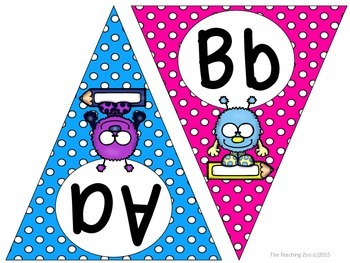 Fuzzy Monsters ABC Word Wall Pennant Banner