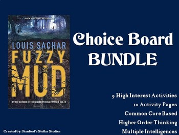Fuzzy Mud Choice Board BUNDLE 10 Activity Pages Book Project NO PREP
