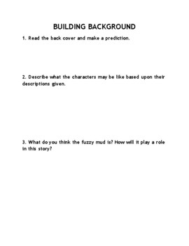Fuzzy Mud Novel Study Comprehension Questions