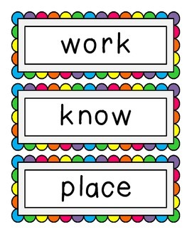 Fry's Second 100 Sight Word - Word Wall