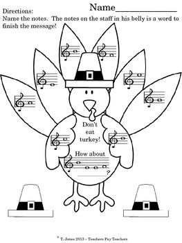 G Clef Gobblers - Note Reading Turkeys