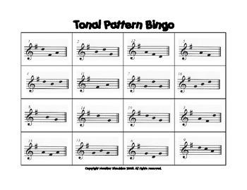 G-Major Tonal Pattern Bingo Card Set