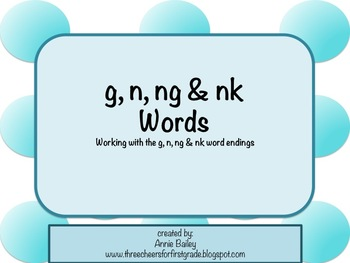 G, N, NG & NK Final Blends Word Study Sort and Activities