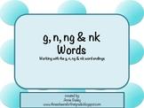 G, N, NG & NK Final Blends Word Study Sort and Activities