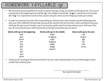 G SOUND Pizza Articulation Cards for Single & Multisyllabic Words & Sentences