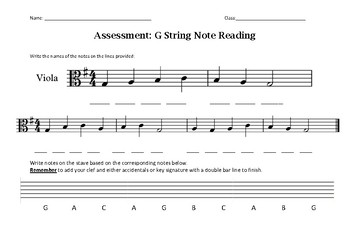 G String Note Reading Assessment
