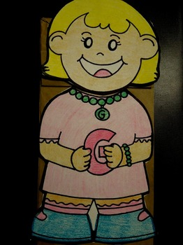 G is for Girl paper bag puppet