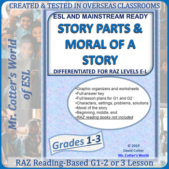 G1-3 Story Parts & Moral differentiated RAZ levels E-L ESL and Mainstream lesson