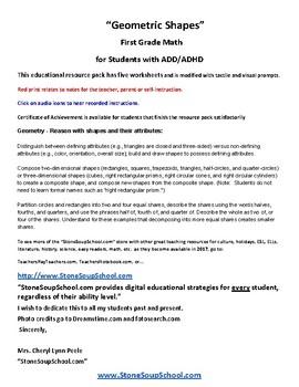 G1 Geometric Shapes  ADD ADHD - Common Core