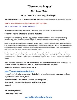 """Grade 1 """"Geometric Shapes"""" for Students with Learning Challenges - CCS"""