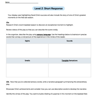 Bundle G11-12 Narrative Reading & Writing - On-Base Success Performance Task