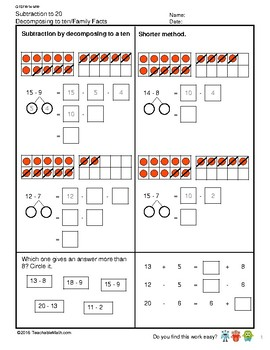 G1S1W14-MW Subtract to 20 Decompose to 10 Add & Subtract Relation (SG Mastery)