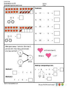 G1S1W15-MW Subtract to 20 Decompose to 10 Subtracting 1's & 10's (SG Mastery)