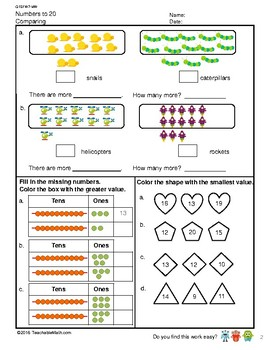 G1S1W7-MW Numbers to 20 Comparing and Number Pattern (Singapore Mastery Method)