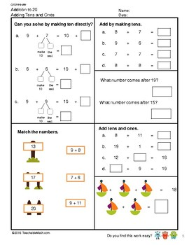 G1S1W9-MW Addition to 20 Adding Tens and Ones (Singapore Mastery Method)