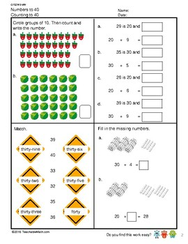G1S2W3-MW1 Numbers to 40 Counting and Place Value (Singapore Math)