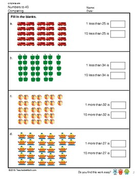 G1S2W3-MW2 Numbers to 40 Comparing and Number Pattern (Singapore Mastery Method)