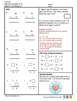 G1S2W5-MW Addition to 40 With Regroup Part 1 (Singapore Mastery Method)