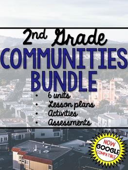 2nd Grade Social Studies Communities YEAR LONG BUNDLE Google Distance Learning