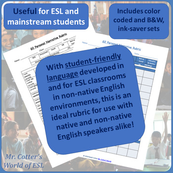 G2 ESL Rubric: Personal Narrative (Modifiable, WIDA- and Mainstream-friendly!)