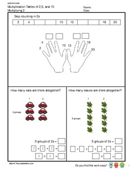 G2S1W12-MW Multiplication Tables of 2 (Singapore Mastery Method)