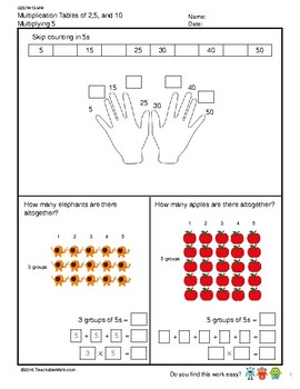 G2S1W13-MW Multiplication Tables of 5 (Singapore Mastery Method)