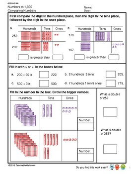 G2S1W2-MW Numbers to 1000 Comparing Numbers and Number Pattern