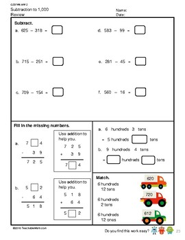G2S1W6-MW2 Subtract to 1,000 Regroup in 100's, 10's & 1's (SG Mastery Method)