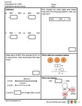 G2S1W7-MW Subtraction to 1,000 Subtraction Across Zeros (S'pore Mastery Method)