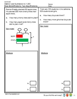 G2S1W9-MW Bar Models Two Step Problems (Singapore Mastery Method)
